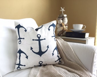 Nautical Pillow Cover - Navy Anchor Pillow, Ocean Decor, Nautical Pillow