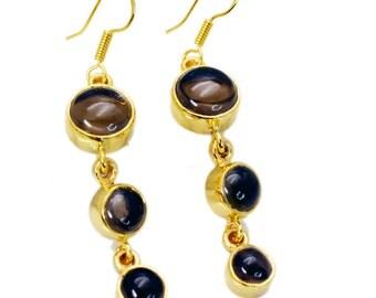 Smoky Quartz Earring,Copper Earring,Brown Earring,hoop,swarovski,GPESQU-76007