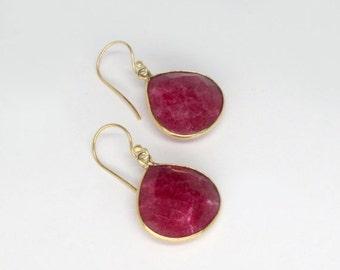 SALE 20% OFF ruby earrings bezel set in 18k gold plate, authentic ruby red earrings, genuine ruby earrings, deep red gold earrings bezel set