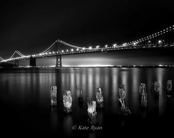 San Francisco Photography, Black&White Print, Oakland, Bay Bridge, California Prints, Landmark Bridges, Wall Art for Home, Office Art