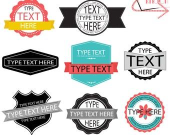 Retro Labels, Badges, Banners - Editable Text, Cards, Invitations, scrapbooking, INSTANT DOWNLOAD - CU, wedding, Clip-Art, Graphics, Logos