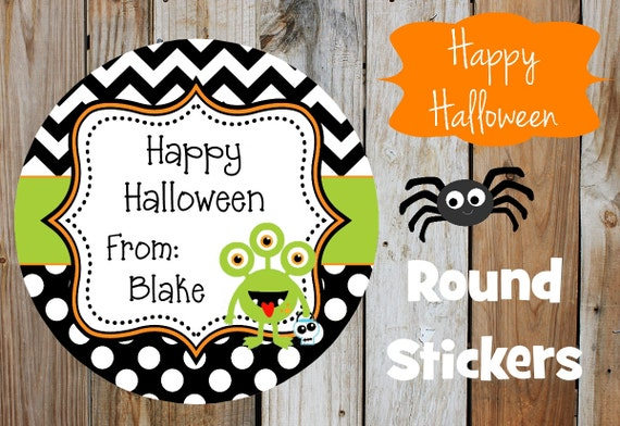 Halloween Stickers - Halloween - Green Monster  - Set of 12 Round Labels - Monster Stickers - Personalized Stickers