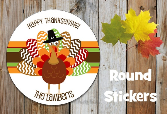 Fall Stickers - Turkey Stickers - Thanksgiving Stickers - Set of 12 Round Labels - Personalized Labels - Orange, Brown, Tags, Stickers