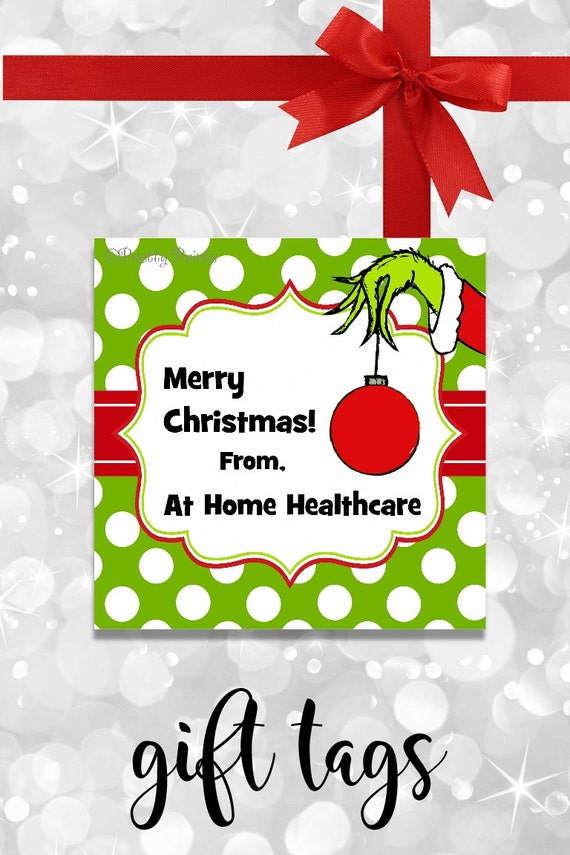 Grinch Christmas Gift Tags - Printable - Personalized Christmas Tags - Grinch Hand - Christmas Tags