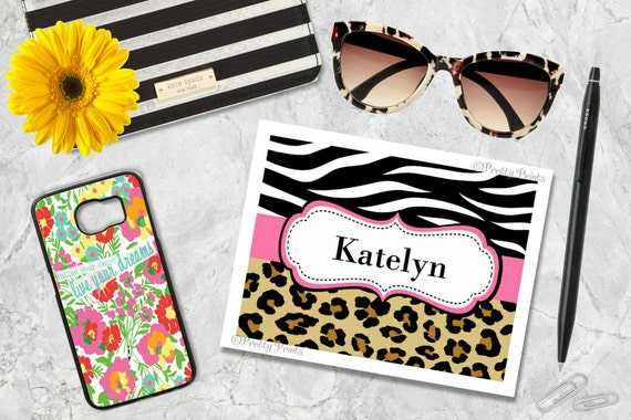 Animal Print Note Cards - Leopard - Cheetah Print - Zebra Print Note Cards - Personalized Stationery - Notecards - Thank You Note Cards