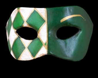 Venetian Mask | Green Checked Eye Mask