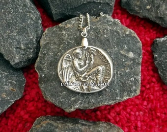 Goddess of Victory Nike Ancient Coin Necklace Pendant
