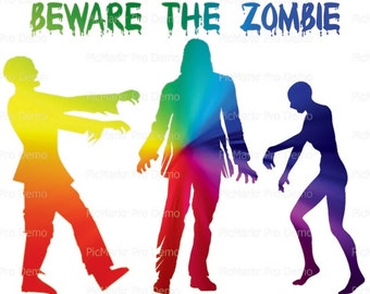 Halloween Beware The Zombies - Edible Cake and Cupcake Topper For Birthday's and Parties! - D21636