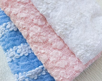 NEW ITEM....Stretch Wrap, Stretch Lace Baby Wrap, Pink, White or Blue Wrap, Newborn Photo Prop, Swaddle Wrap, Layering Fabric.