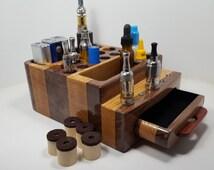 E- Cigarette Ecig Vapor  Vape  Stand/Display Wood Organizer (EC0388) --Tube Mod - Box Mod -  Mini Box Mod, Tanks - Batteries