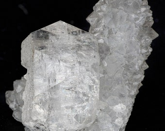 Wonderful Clear Apophyllite Crystal on Quartz Crystal Stalactites