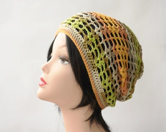 Summer Slouchy beanie Cotton Beret Mesh Tam Hat beach