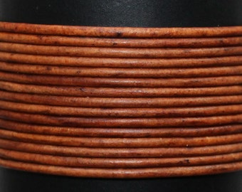 Natural Light Brown / 1mm Leather Cord / leather by the yard / round leather cord / genuine leather / necklace cord / bracelet cord