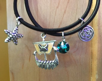 Viking Charm Bracelet - ship warrior shield Celtic starfish ocean sea Swarovski Emerald