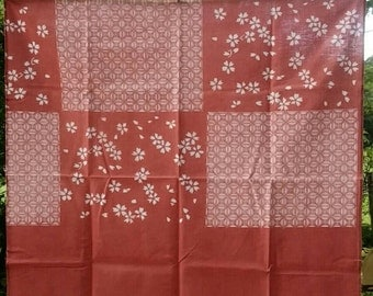 FUROSHIKI natural dyed cotton square red cloth 93*93cm madder, cherry blossom & square pattern