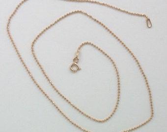 Rose Gold Diamond Cut Vermeil Bead Ball Chain, Spring Ring Closure