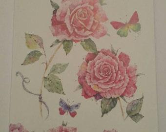 Handmade pink rose greeting card