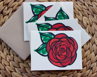 "Rose Red Flower Cards - 4 Pack - A2 (4.25""x5.5"") Blank Inside"