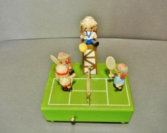 Vintage 'Wooden Figural Music Box Tennis Players, Tennis Players Music Box, Enesco Wooden figural tennis players music box, wood music box
