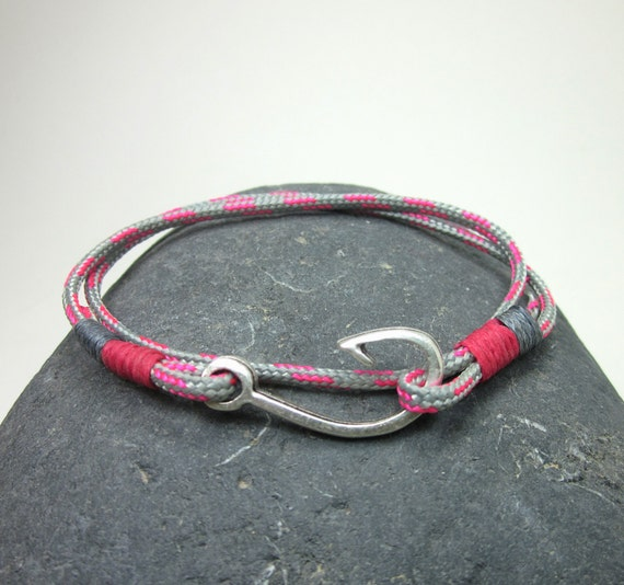 Fish hook bracelet in pink and gray rope bracelet by for Fish hook paracord bracelet