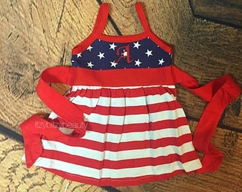 Fourth of July dress SALE patriotic monogrammed initial red white and blue stars and stripes baby girls