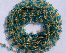 Hurry! Sale 40% Off 50 Feet London Blue Topaz Hydro Glass 3.50mm Beads Wire Wrapped Beaded Rosary Link Chain.