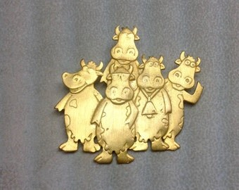 Vintage JJ Gold Cow Pin Brooch Group Gathering of Cows Waving Sunglasses Cowbell Cow Bell Jonette Johnson Jewelry