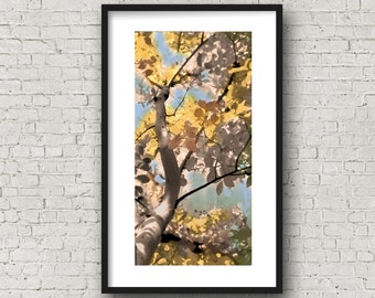 Tree Photo, Abstract Yellow Blue, Tree Photography, Crepe Myrtle photo art, Nature Photo Art, Abstract Digitally Painted, Abstract Tree Art