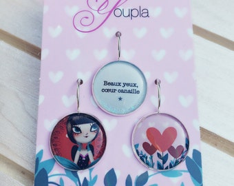 Trio of earrings - Juliette Youpla & Adolie Day (18mm in diameter) - La Plume à l'Oreille collection