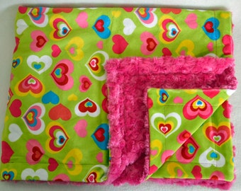 Minky Baby Blanket, Baby Girl Blanket, Double Sided Minky Blanket, Baby Shower Gift, 35 x 30 *Ready to Ship*