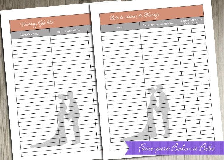 Wedding Gift List Printable : Digital printable Wedding Gift List