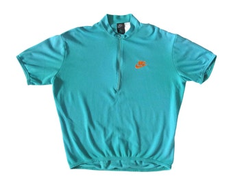 Vintage Nike ACG Turquoise Blue Biking Cycling Shirt
