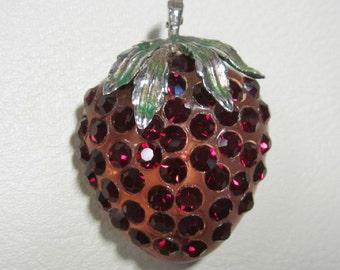 Vintage Jewelry - Forbidden Fruit Rhinestone Brooch Pin - Red Strawberry - Book Piece - Lucite