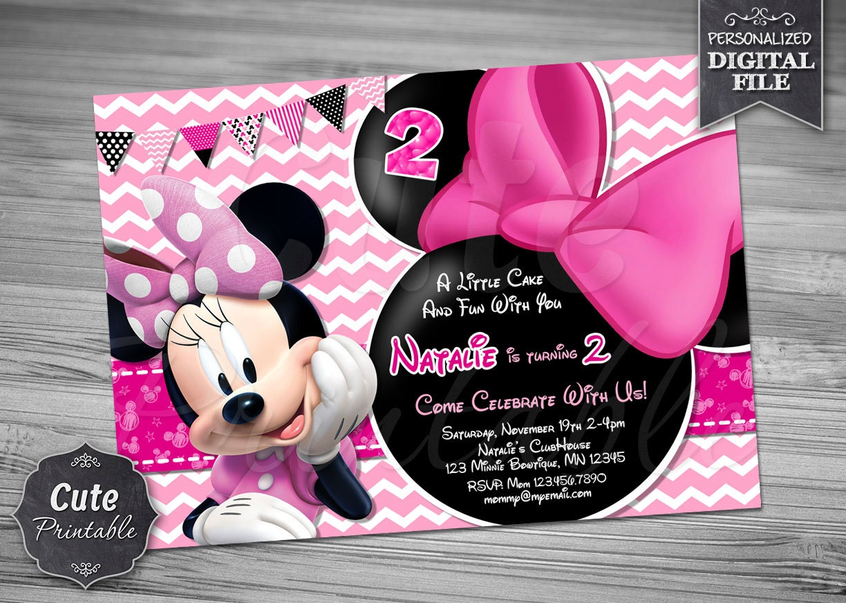 Influential image with printable minnie mouse invitations