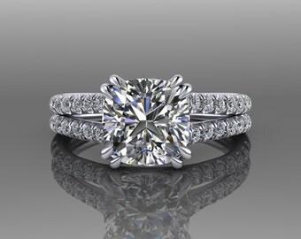 Forever One Moissanite Engagement Ring / 18K White Gold Cushion Cut Wedding Ring / Split Shank Diamond Engagement Ring / Wedding Ring RE179W