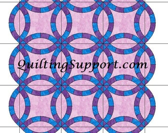 The Double Wedding Ring Quilt with Scalloped Edges Template Patterns for 6 SIZES
