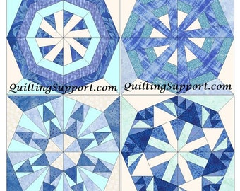 Snowflake Set of 4 Paper Piece Template Quilting Block Patterns Set 1 PDF