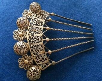Antique Victorian Filigree Mantilla Comb, Filigree Hair Pin