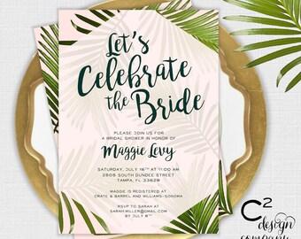 Pink & Palm Bridal Shower Invitation