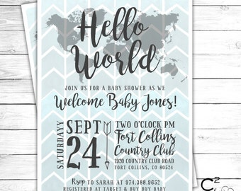 Hello World Baby Shower Invitation