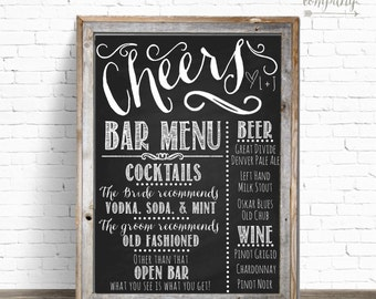 Cheers Chalkboard Wedding Bar Menu Sign