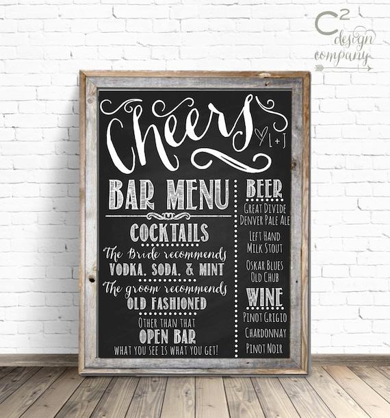 Cheers Chalkboard Wedding Bar Menu Sign