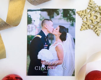 Merry Christmas Holiday Card, Married Christmas Card, Wedding Photo Holiday Card, Christmas card, Just Married, Newlywed Christmas Card