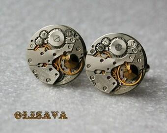 Watch Movement  Cufflinks with  Swarovski crystals - Steampunk Cufflinks . Steampunk jewelry , Clockwork Watch Movement Cuff Links