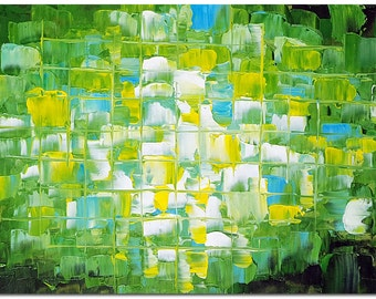 Green Obsession - Hand Painted Palette Knife Modern Abstract Oil Painting On Canvas