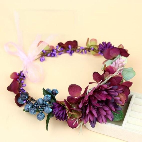 Flower Crown Purple: Fuchsia Purple Flower Crown Headwreath Violet Flower Crown