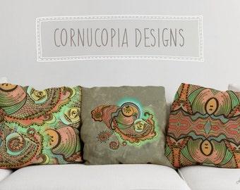 Cornucopia Printed Throw Pillow. Cushion Cover, Apartment and Dorm Decor, Sofa Cushion, Seashells, Spirals, Nautical, Shells, Tattoo, Orange