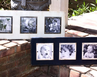 Distressed plank picture frame; wooden picture frame; navy picture frame; white picture frame; photo frame; three 5x5 photos