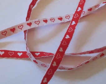 Ribbon heart - white/red