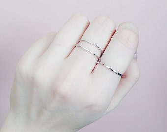 Set of 3 | Minimalist | Antique Silver Tone | Stacking Rings | Thin | Band Rings | Gift | Jewellery | Jewelry | Boho | Gypsy